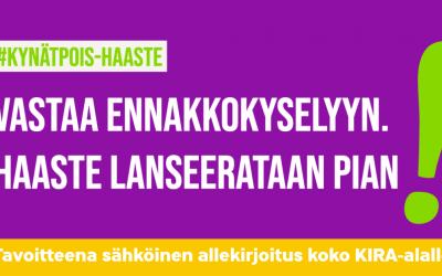 #kynätpois-haaste starttaa pian. Vastaa ennakkokyselyymme!
